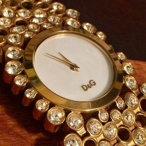 Dolce Gabbana Gold Toned Crystal Embellished Watch